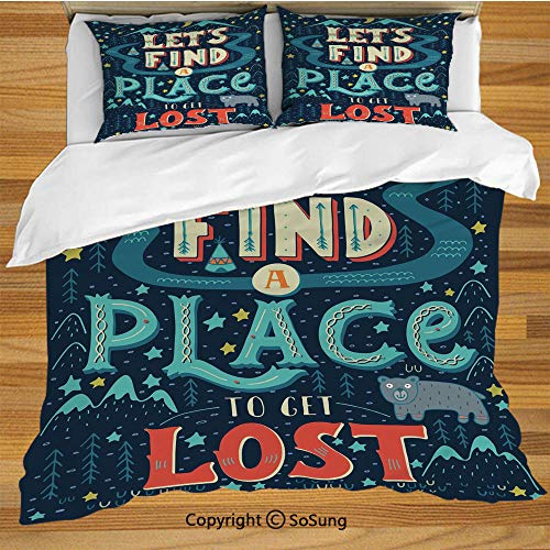SoSung Adventure King Size Bedding Duvet Cover Set,Lets Find a Place and Get Lost Lettering on Vibrant Native American Landscape Decorative 3 Piece Bedding Set with 2 Pillow Shams,Multicolor ()