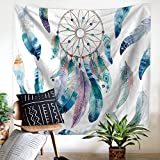 """Dream Catcher Tapestry Wall Hanging Indian Wall Art Fabric Wallpaper Home Decor, Hippie Decor 59""""W x 51""""L ( Blue and White)"""