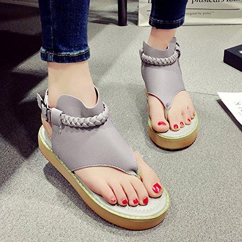 Gris de Zapatos EU38 Sandalias de Portátil Zapatos de CN38 inferior Gris 5 la femenina Color antideslizantes moda LIXIONG parte la playa Tamaño gruesa del Zapatos UK5 verano 5RpaBxqBYn