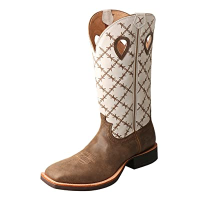 "Twisted X Men's 14"" Ruff Stock Boot Square Toe - Mrs0056: Sports & Outdoors"