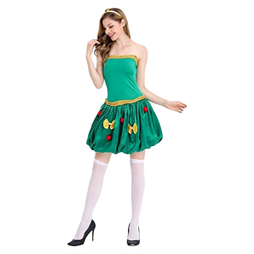 aa89ea748b84 Image Unavailable. Image not available for. Color: Women's Sleeveless  Halter Christmas Tree Dress Sexy Christmas Tree Costumes Christmas Costume
