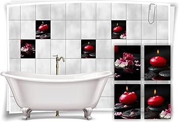 Medianlux Fliesenaufkleber Fliesenbild Steine Kerzen Orchidee Spa Deko  Wellness Aufkleber Fliesen Bad Dekoration Badezimmer, 20x25cm