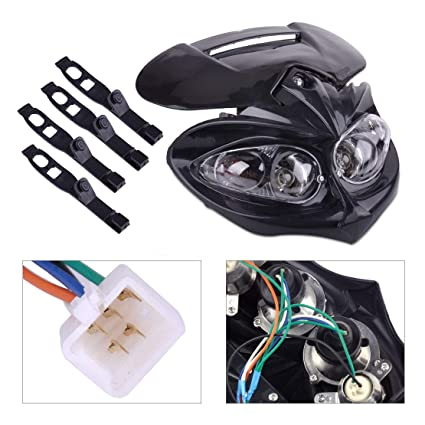 Streetfighter Stunt Black Head Light with Brackets for Motorcycle