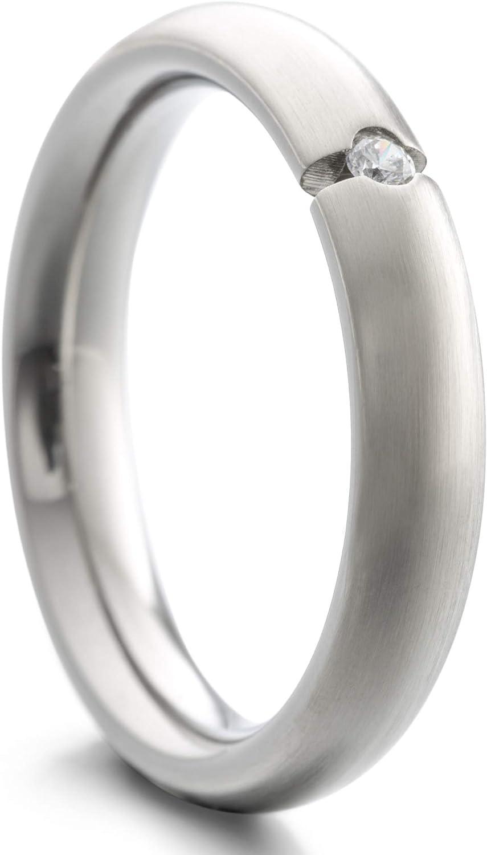 Heideman Ring Damen Paari aus Edelstahl Silber Farben matt oder poliert Damenring für Frauen mit Swarovski Zirkonia Weiss als Brillant im
