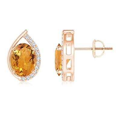 Angara Teardrop Framed Oval Morganite Solitaire Earrings rXKwW3PaaA