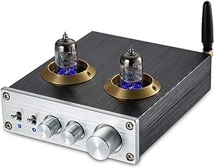 Nobsound Bluetooth HiFi 6J2 Vacuum Tube Preamplifier Stereo PreAmp Digital Treble & Bass Tone Control (Silver)