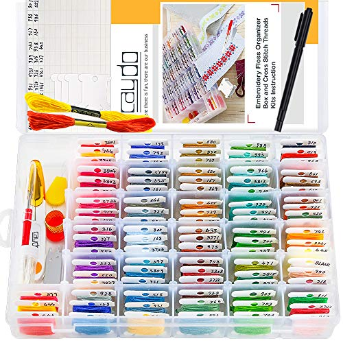 (Caydo 100 Pieces 100 Colors Embroidery Floss with Organization Box, Marker Pen and 137 Pieces Cross Stitch Tool Kit for Friendship Bracelet String)