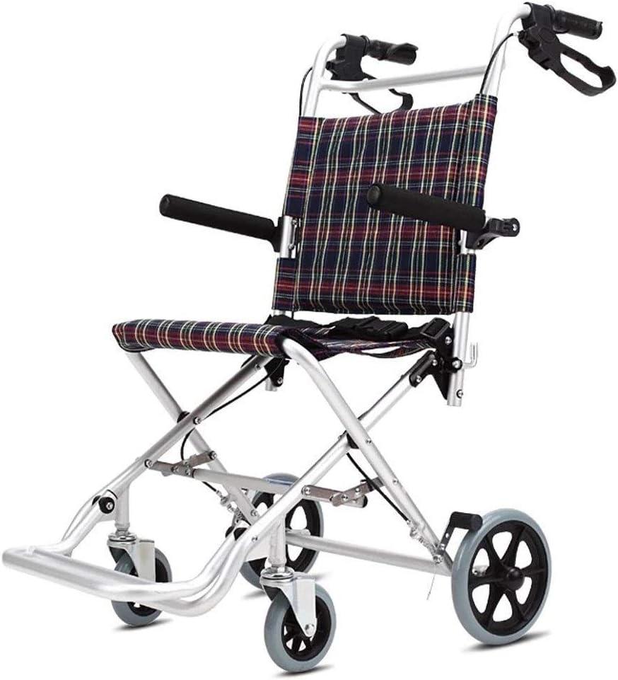 FTFTO Inicio Accesorios Silla de Ruedas Plegable Aleación de Aluminio Carro portátil súper Ligero Cuidado del hogar Seguridad Silla de Ruedas Niños Ancianos Andadores de Viaje