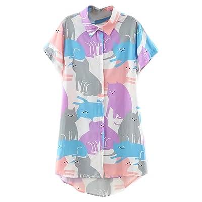 ABADAY Cartoon Cat Print Short Sleeve Longline Shirt Plus Size (S-XXXXL) at Women's Clothing store