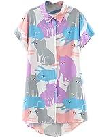 ABADAY Cartoon Cat Print Short Sleeve Longline Shirt