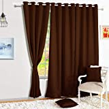 Story@Home Blackout Faux Silk Superior 2 Piece Plain Solid Door Curtains, 7 feet, Brown
