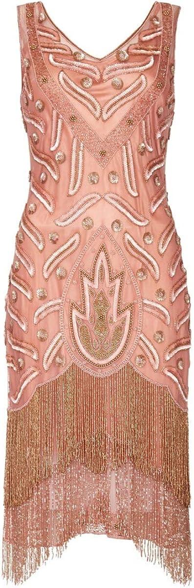 Vintage 1920s Dresses – Where to Buy gatsbylady london Hollywood Fringe Flapper Dress in Rose £125.00 AT vintagedancer.com