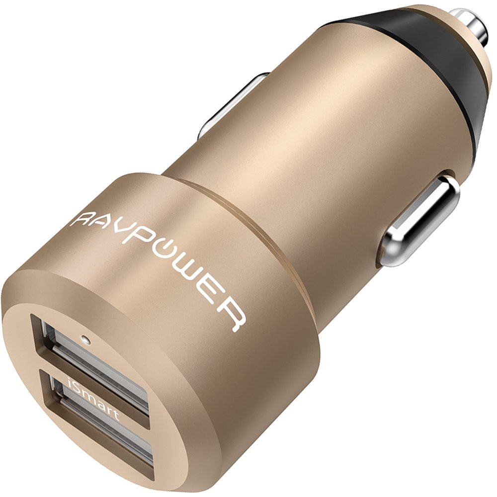 USB Car Charger RAVPower 24W 4.8A Metal Dual Car Adapter, Compatible with iPhone iPhone X 8 7 6 Plus, Galaxy S9 S8 S7 S6 Edge Note 8, Nexus, LG, HTC and More (Gold)