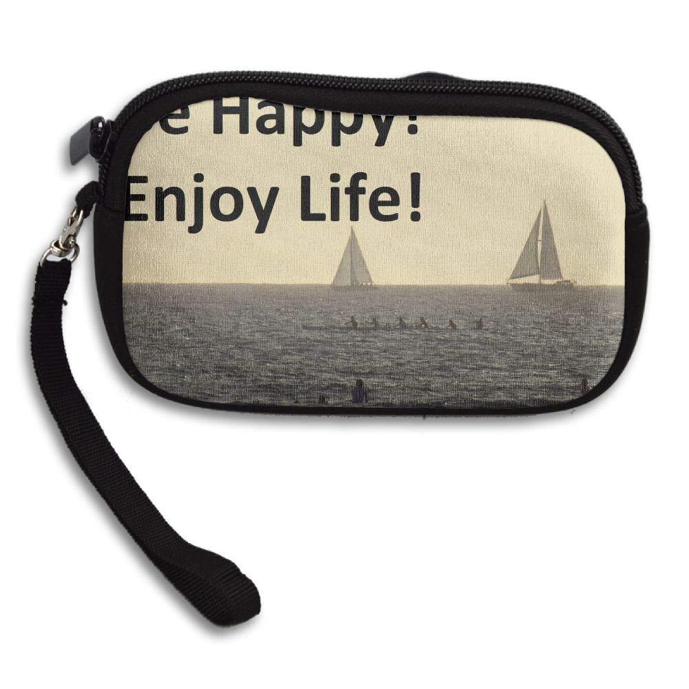 HACVREQ Unisex Personalized Wallet,Be-Happy-Enjoy-Life Purse Bag Woman Ladies Men Gentlemen