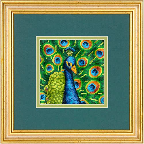 Dimensions Colorful Peacock Mini Needlepoint Kit, 5 by 5-Inch, Stitched in Thread Fun Mini Needlepoint Kit