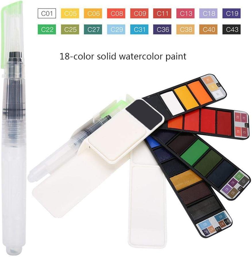 Ensemble de peinture aquarelle 18 couleurs en forme d/éventail pliable Pigments aquarelle solides avec brosse /à eau pour artistes /étudiants enfants d/ébutants