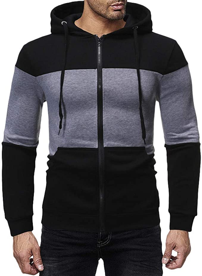 OMINA Mens Patchwork Sweatshirts Hoodies Cardigan Casual Winter Slim Fit Long Sleeve Outwear Coat