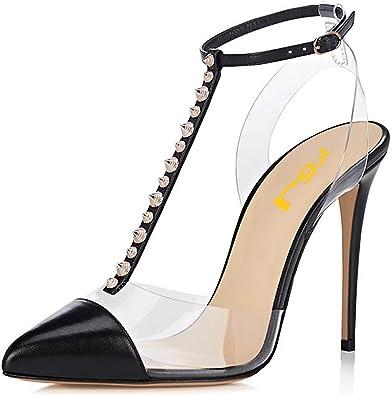 FSJ Women Clear Studded Pointed Toe Pumps Slingback Stiletto Heels T-Strap Sandals Shoes Size 4-15 US