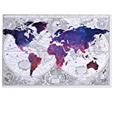 Visual Art Decor Abstract Vintage World Map Double Images Picture Galaxy Map Canvas Prints Home Wall Decor Framed and Stretched Wall Art (1 Piece, Large)