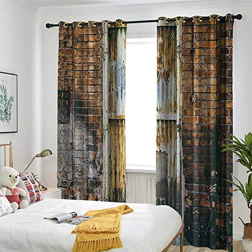 (one1love Rustic Home Decor Window Curtains Dilapidated Metallic Door Gate Entrance to Old Brick Wall Factory Urban Design Grommet Curtains for Bedroom 84