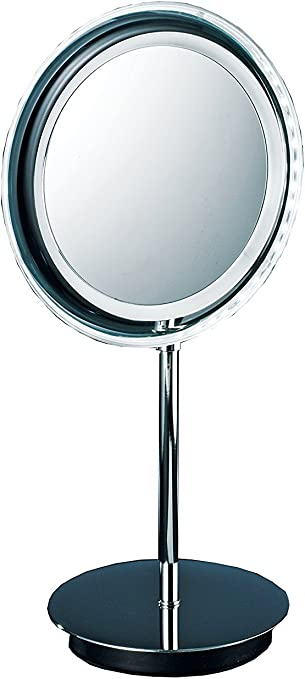 Amazon Com Dwba Round Table Cosmetic Makeup 5x Led Light Magnifying Mirror Cordless Lighted Countertop Makeup Mirror With 5x Magnification Polished Chrome Home Kitchen