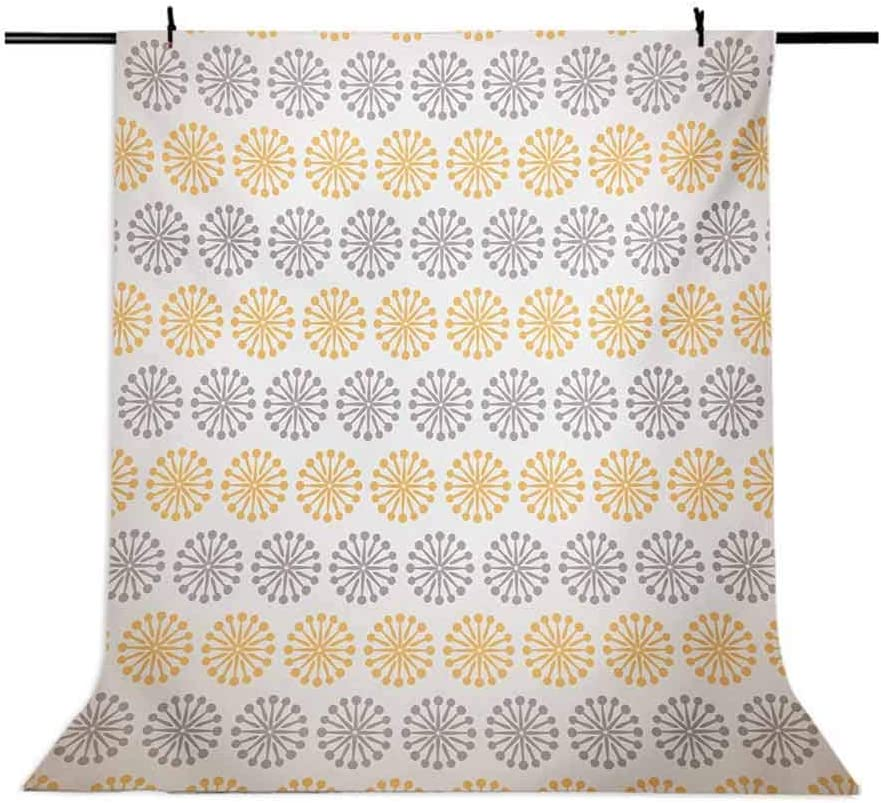 Grey and Yellow 10x15 FT Photography Backdrop Bohemic Oriental Inspired Geometrical Floral Art Image Background for Child Baby Shower Photo Vinyl Studio Prop Photobooth Photoshoot