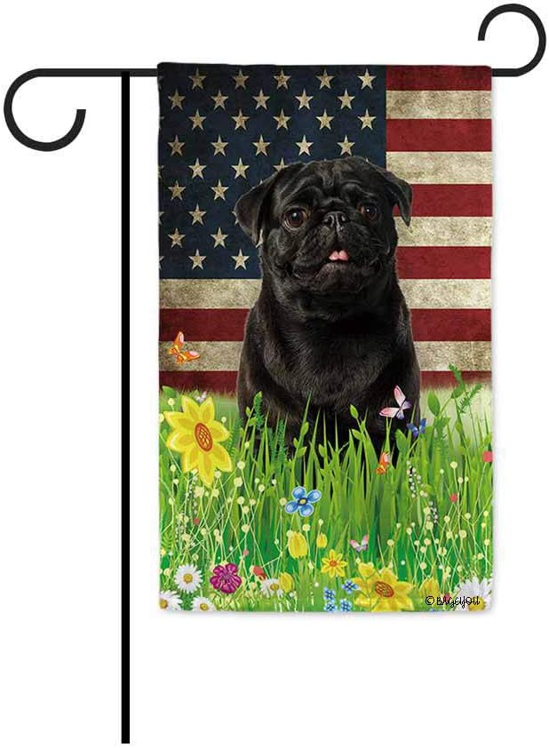 BAGEYOU Black Pug Dog Garden Flag Lovely Pet Dog American US Flag Wildflowers Floral Grass Spring Summer Decorative Patriotic Banner for Outside 12.5x18 Inch Printed Double Sided