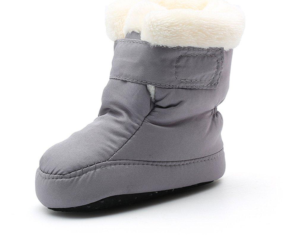 Kuner Newborn Baby Boys and Girls Waterproof Winter Warm Snow Boots Crib Shoes(13cm(6-12months), Gray)