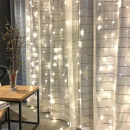 LSZHHL Navidad Hada Cortina Guirnalda Luz Navidad Cadena Decorativa Navidad Fiesta Jardín Boda Festival Atmósfera Luces: Amazon.es: Hogar