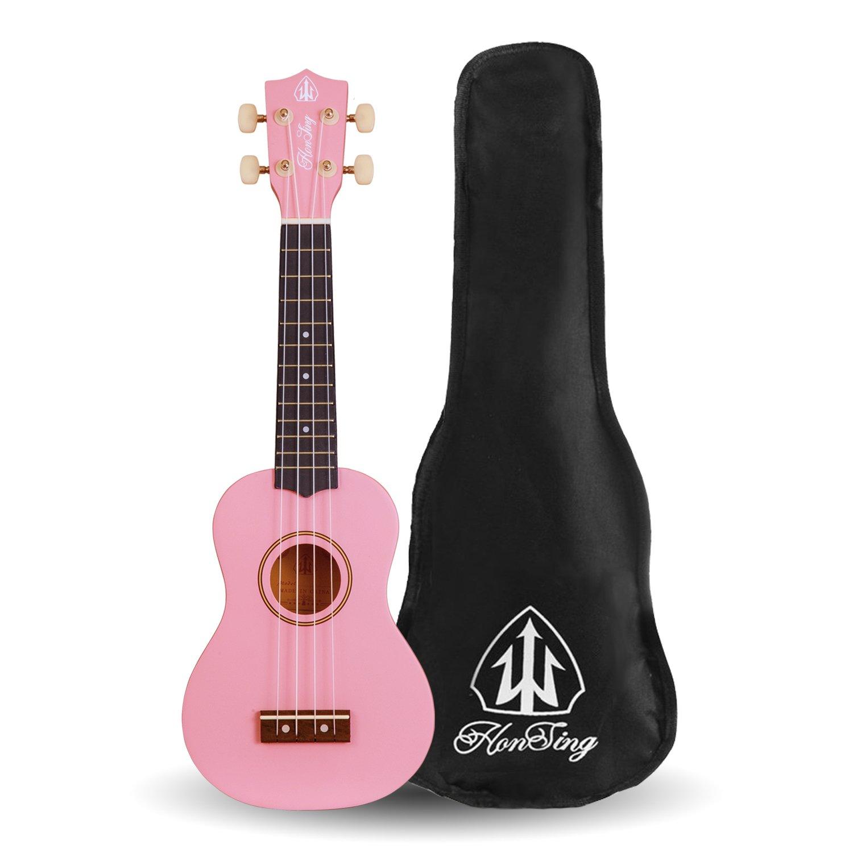 Honsing Uke New Basswood Soprano Ukulele Hawaii Guitar 21 inch Gift for Friend Children (pink)