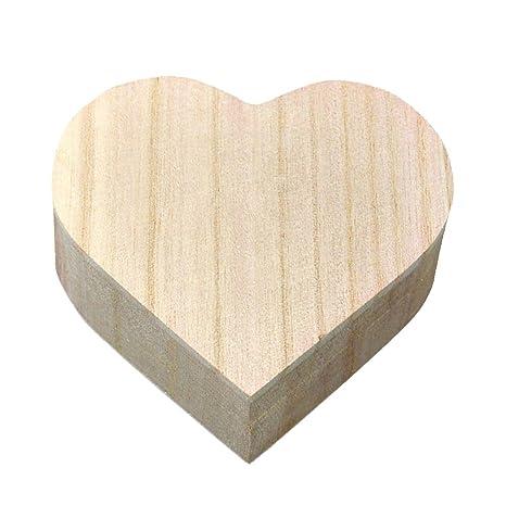 Kentop Corazón Caja de Madera con Tapa para Guardar Joyas Madera Joyero Caja de Regalo para