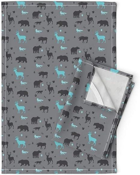 Woodland Animal 100/% Cotton Tea Towel