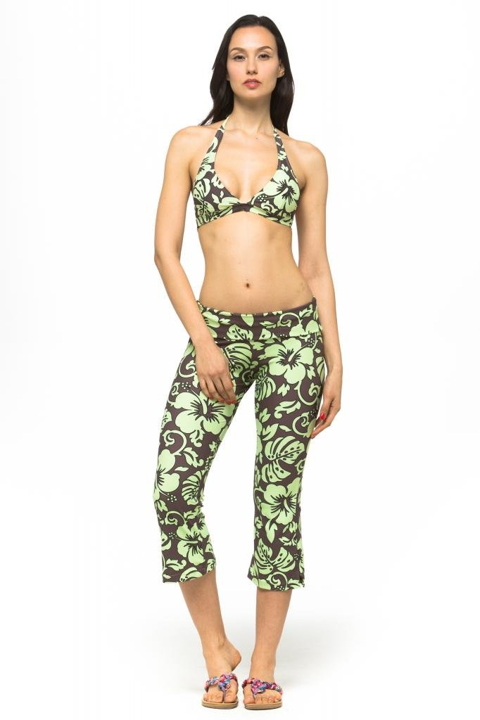 Private Island Women UV Swim Rash Guard Capri Bootcut Pants Yoga (M, BwG) by Private Island