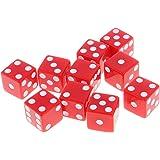 Lovoski  10個セット 6面 数字 ダイス サイコロ ゲーム道具 全10色選べる - 赤