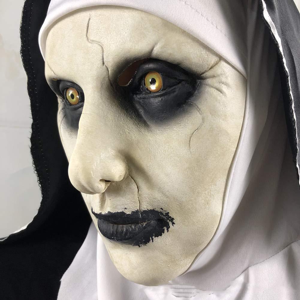 Máscara Espeluznante Jersey Y Pelo De Halloween Fiesta De Terror Cosplay Látex Aterrador Monja Horror Fantasma Femenino Fiesta De Disfraces: Amazon.es: ...