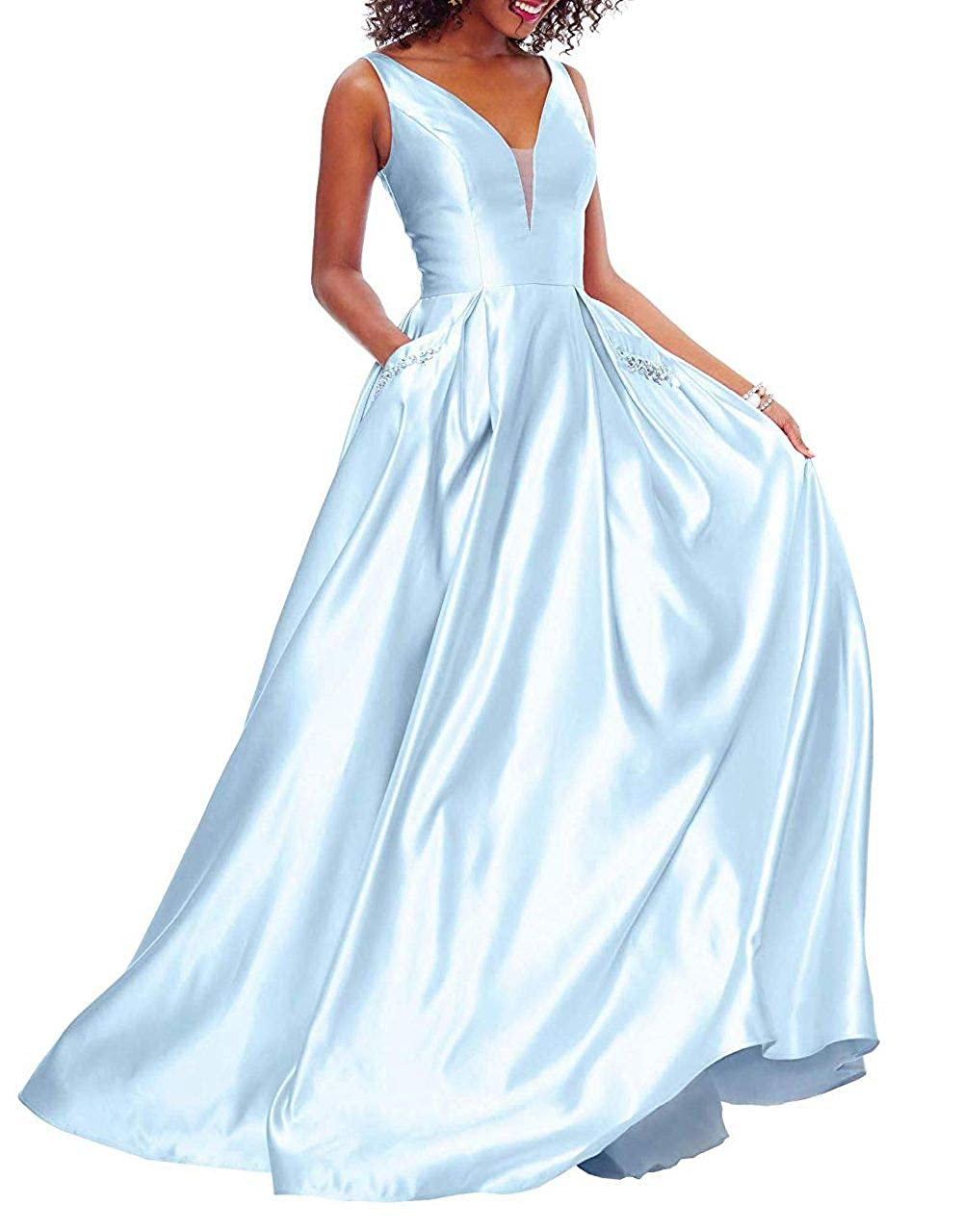 Light bluee Yuki Isabelle Women's V Neck Prom Dresses A Line Beaded Satin Long Formal Evening Gown with Pockets