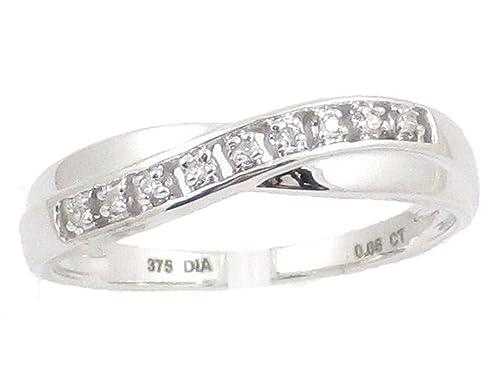 La Colección Anillo Diamante : Anillo Oro Blanco 9ct Set de Diamante 0.05ct, Anillo