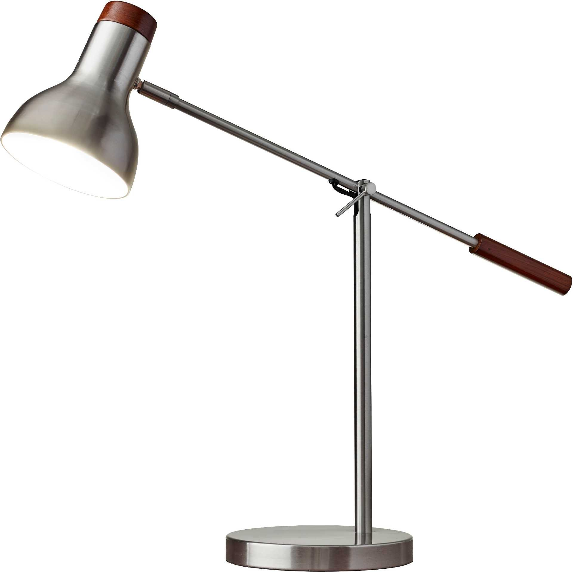 Adesso 4253-22 Watson 18.5''-24.5'' Desk Lamp, Satin Steel, Smart Outlet Compatible