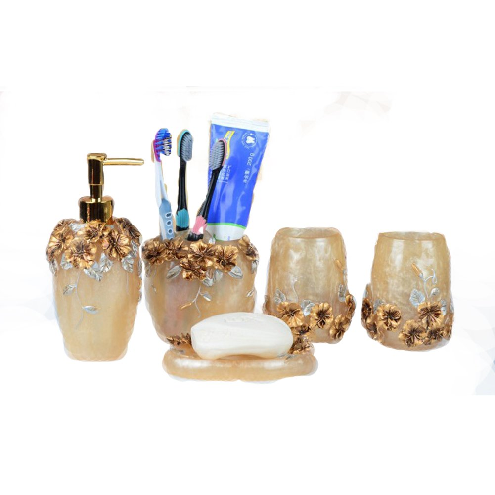 Jasni Country Style Resin 5PC Bathroom Accessories Set Soap Dispenser/Toothbrush Holder/Tumbler/Soap Dish (Gold)