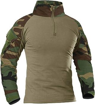 KEFITEVD Camisa táctica para Hombre Camisa Slim Fit de Manga Larga Camisa de Combate Airsoft Camisa de Camuflaje Flecktarn Paintball al Aire Libre: Amazon.es: Deportes y aire libre