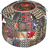Indian Patchwork Pouf Cover Indian Living Room Pouf, Decorative Ottoman,Embroidered Designer Ottoman, Home Living Footstool Chair Cover, Bohemian Ottoman Pouf Decor 14x22 Inch.