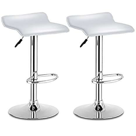 Tremendous Costway Bar Stool Swivel Adjustable Contemporary Stools Modern Design Chrome Hydraulic Pu Leather Backless Barstools Set Of 2 White Pabps2019 Chair Design Images Pabps2019Com