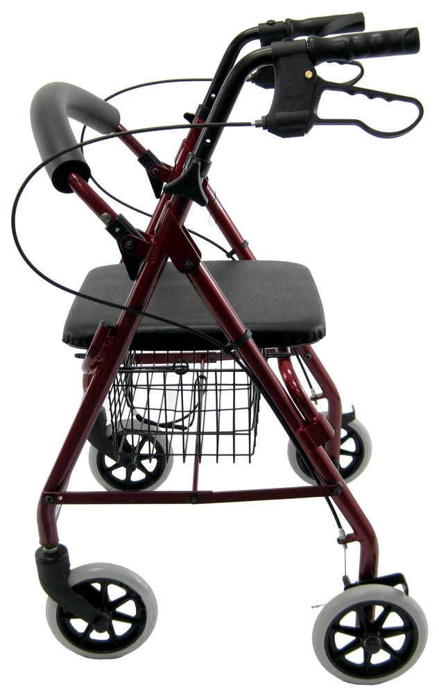 Karman Healthcare R-4100-BD Aluminum Rollator with Low Seat, Burgundy, 6 Inches Casters