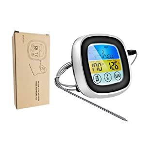 Digital Meat Thermometer Instant Read for Cooking Oven Safe Food Thermometer Digital with Sensitive Color Large LCD Display for Oven, Kitchen Food Cooking, BBQ, Smoker, Grill with 1 Probes and Timer