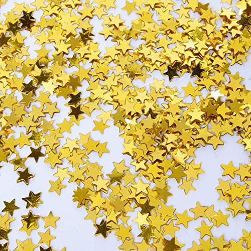 (EMAAN Shiny Cute Stars Decorated with Confetti and Foil Sequins, Sparkling Stars Sequins for Weddings, Birthday, Baby Showers, Crafts Decoration, 60 g / 2 oz (Gold Stars))