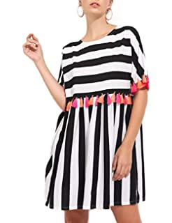 4a3ce1116b12 AINORS Women s Plus Size Casual Loose Round Neck Short Sleeved Striped  Colorful Tassel Trim Dress