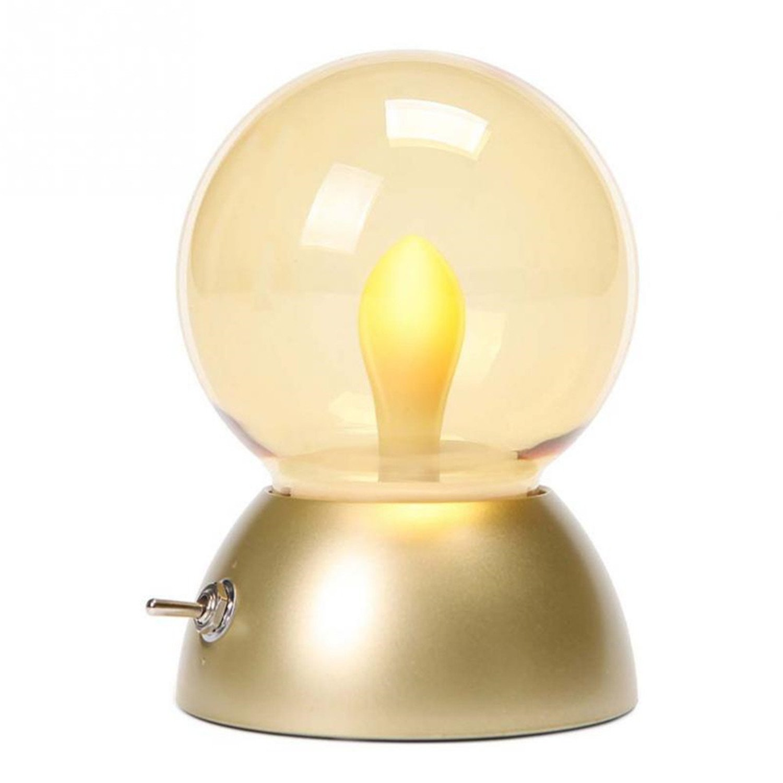 gold LL Vintage Bulb Night Light Retro USB Lamp Rechargeable luminaria Nightlight Luces LED Energy-Saving Book Lights Lamps (1PCS) 0.5Watts (color   gold)