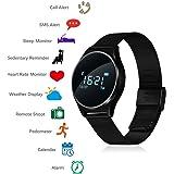 TKSTAR Touchscreen Smart Watch, Bluetooth 4.0 Sport Fitness Tracker, 0,96OLED Smart Uhr, Neue Mode Smart Armband mit Schlaf Monitor Blutdruck Herzfrequenzmesser Schrittzähler Kalorienschritt Zähler SMS Alarm JUM7