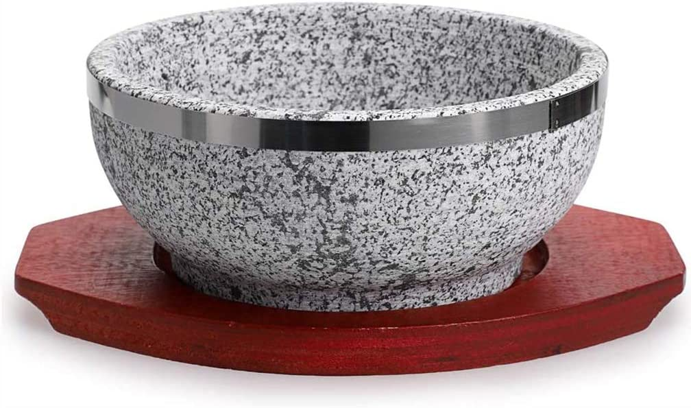ZZFF Granite Stone Bowl with Wood Base,Korean DOLSOT Bibimbap Bowl,Donabe Rice Cooker,Ceramic Pot Casserole,DOLSOT Pot for Korean Soup Rice Stew Stone Diameter14cm(6inch)
