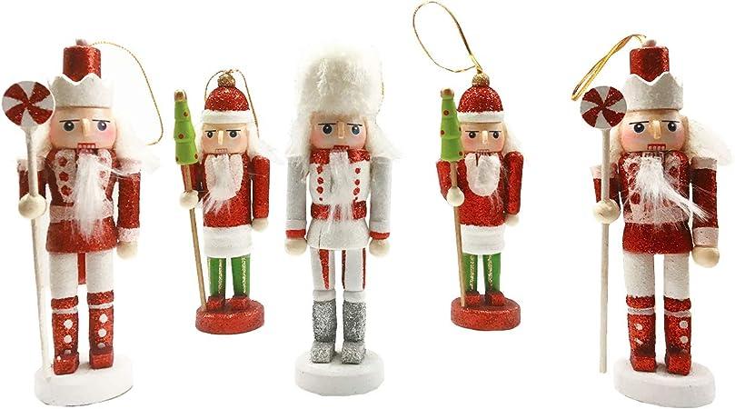 Figurines en Bois peintes /à la Main Soldat Casse-Noisette BRUBAKER D/écoration de No/ël Traditionnelle 6 Pi/èces Suspensions pour Sapin de No/ël